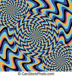 Psychosis (illusory motion) - Rotating patterns are featured...