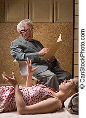 psychoterapeuta, pacjent, młody, dojrzały