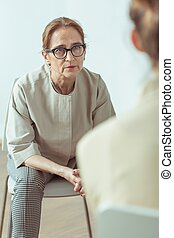 psychothérapeute, patient, conversation
