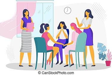 psychotherapeutic, famiglia, women., gruppo, sostegno, violenza, domestico, illustrazione, psicologico, vettore, terapia, femmina, consiglio, problemi