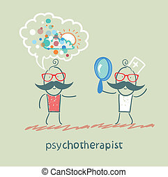 psychotherapist  looking through a magnifying glass on a patient who dreams