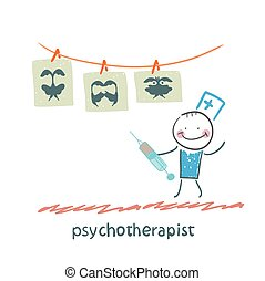 psychotherapist  shows a picture test and standing with syringe