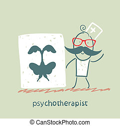 psychotherapist  shows a picture test