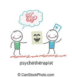 psychotherapist  shows the patient image test