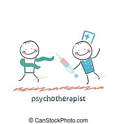 psychotherapist  with a syringe catching up with the crazy