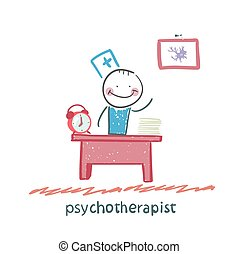 psychotherapist working in his office. Fun cartoon style illustration. The situation of life.