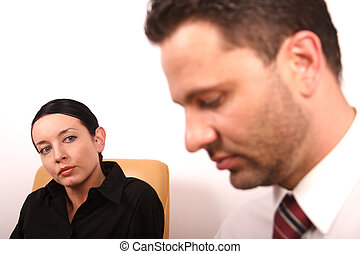 Psychotherapy 2 - Woman  looking at man - woman in focus