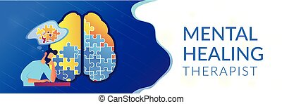 Psychotherapy and psychology header banner. - Man doing...