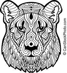 Psychotherapy. Coloring book for adults. The lioness