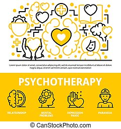 Psychotherapy concept background, outline style