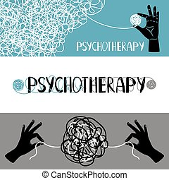 Psychotherapy concept banners set, with human hands...