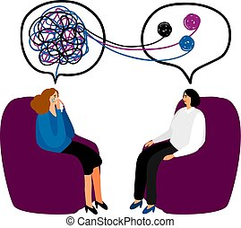 Psychotherapy concept illustration - Psychotherapy. Woman...