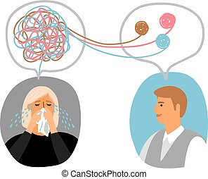 Psychotherapy concept illustration with crying lady and male...