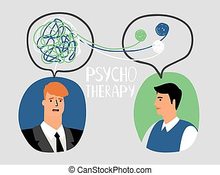 Psychotherapy concept illustration with male doctor and...
