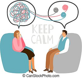 Psychotherapy concept illustration with male patient and...
