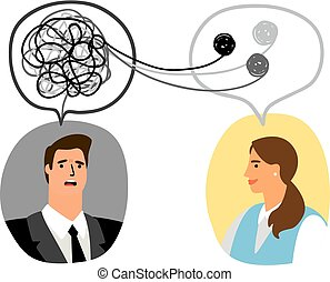 Psychotherapy concept illustration with man and lady...