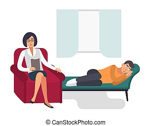 Psychotherapy concept. Patient, man with a psychologist. Colorful flat illustration.