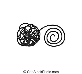 Psychotherapy concept tangled and untangled lines brain metaphor