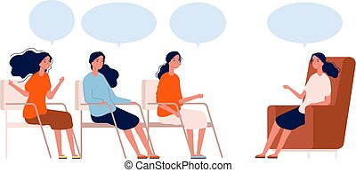 Psychotherapy group. Women consultation with therapist, coaching or discussion club. Female help center meeting vector concept