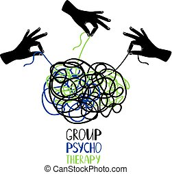 Psychotherapy icon hands untangling knot - Hands untangling...