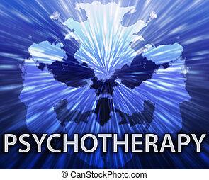 Psychotherapy inkblot background - Psychiatric treatment...