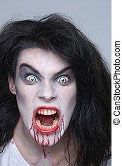 Psychotic Bleeding Woman in a Horror Themed Image - Bleeding...