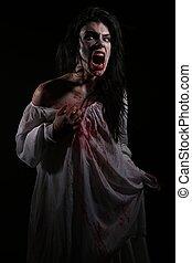 psychotic, sangría, mujer, en, un, horror, themed, imagen