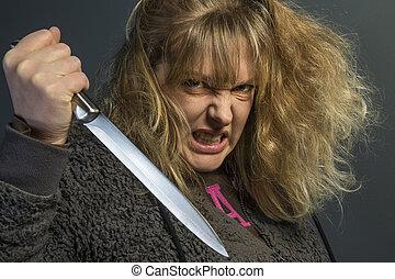 Psychotic Woman - A crazy psychotic young woman - domestic...