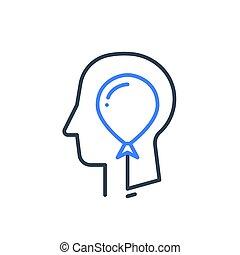 psykologi, balloon, kognitiv, aktning, ego, människa huvud, själv, psykiatri, profil, eller, begrepp