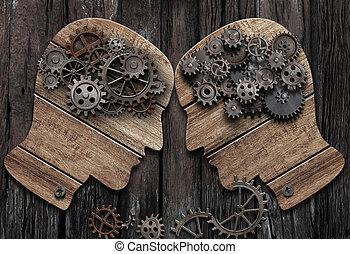 psykologi, illustration, slag, vs, begreppsmässig, 3, man