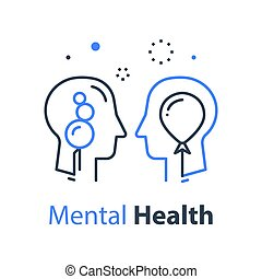 psykologi, psykoterapi, kognitiv, aktning, ego, människa huvud, själv, eller, profil, begrepp