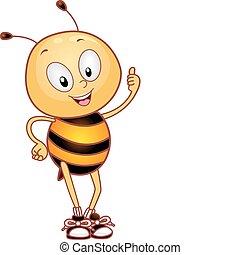pszczoła, do góry, kciuki