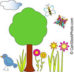 pszczoła, ptak, motyl, kwiaty, drzewo