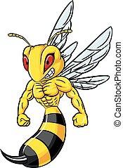 pszczoła, silny, ilustracja, maskotka