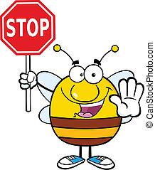 pszczoła, zatrzymywać, dzierżawa, pudgy, znak