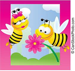pszczoły, tło, ilustracja, opowiadania, wektor, różowy