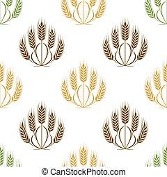pszenica, granuluje, próbka, seamless, ilustracja, wektor, kłosie
