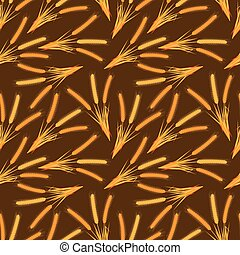 pszenica, illustration., barwny, pattern., seamless, wektor, tło, ears., rysunek