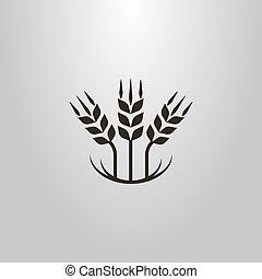 pszenica, prosty, abstrakcyjny, trzy, wektor, symbol, kłosie