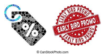ptáček, časný, koláž, dupnutí, promo, rabat, textured, jmenovka