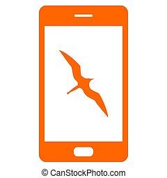 ptáček, fregata, smartphone