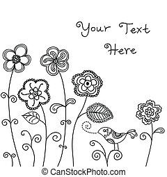 ptáček, grafické pozadí, květinový