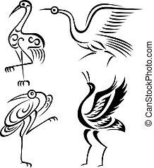 ptáček, jeřáb, ilustrace