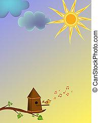 ptáček, karikatura, ilustrace
