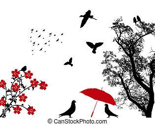 ptáci, grafické pozadí