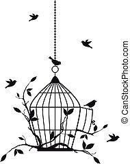 ptáci, vektor, svobodný