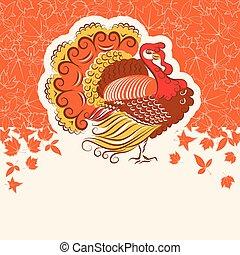 ptak, święto, karta, indyk, tekst, dzień, albo, projektować, dziękczynienie