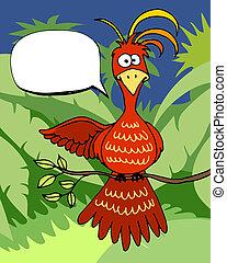 ptak, bańka, rysunek, mowa, sprytny