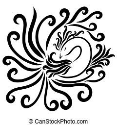 ptak, barwiony, z, gładki, czarnoskóry, kwestia, i, zwija,...