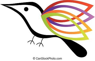 ptak, barwny, skrzydełka